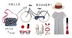 Stylish cyclist in summertimer by bringabag on Polyvore featuring Joules, Rachel Rachel Roy, Ray-Ban, Monica Vinader, Saks Fifth Avenue, TheBalm, Bella Freud and Chanel
