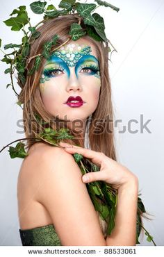 forest nymph makeup   Beautiful Creative Fashion Makeup.Dryad.Mermaid Stock Photo 88533061 ...