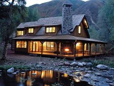 Cozy Rustic Cabin  Absolutely gorgeous and love the outdoor fireplace... hope theres one just like it INside!