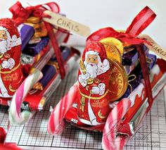 Santa's sleigh made from sweets and chocolate