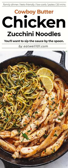 Cowboy Butter Chicken and Zucchini Noodles - - This GORGEOUS paleo dinner idea is simple, easily customizable and pretty much fail-proof. - by Recipes paleo Cowboy Butter Chicken with Zucchini Noodles Zoodle Recipes, Diet Recipes, Chicken Recipes, Healthy Recipes, Paleo Recipes Simple, Zoodles And Chicken Recipe, Clean Food Recipes, Keto Zoodles Recipe, Cooking Recipes For Dinner