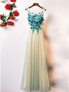 A-Line Crew Floor-Length Sage Sleeveless Tulle Prom Dress with Appliques