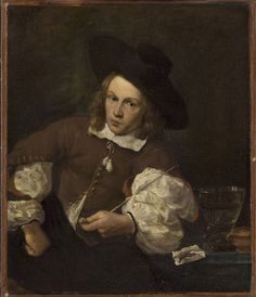 """Portrait of a Young Man Seated Smoking"" attributed to Karel Dujardin (17th century) at the Philadelphia Museum of Art, Philadelphia - I love how the subject's personality shines through here - there's something just slightly snarky and devil-may-care about him, don't you think?"