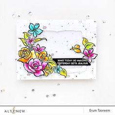 Altenew Amazing You Stamp Set watercolored with distress inks | Erum Tasneem | @pr0digy0 | @altenew