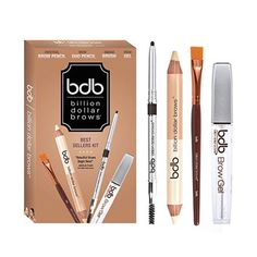 Billion Dollar Brows Best Sellers Kit, Includes Universal Brow Pencil, Brow Duo Pencil, Brow Gel and Smudge Brush for Perfectly Defined Brows Eyebrow Kits, Eyebrow Tinting, Eyebrow Pencil, Eyebrow Makeup, Makeup Kit, Eyebrow Stamp, Makeup Hacks, Fragrance Direct, Brow Tutorial