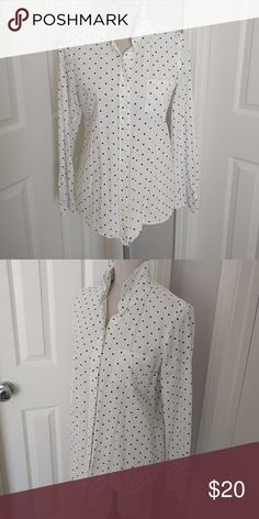 Shop MY Closet with J. Crew Boy fit polka dot Button down blouse top, white with navy polka dots, size 4 J. Crew Tops Button Down Shirts