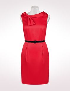 Retro Matte Satin Sheath Dress with Bow Detail  $39.99