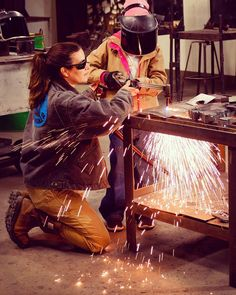 """""""I hope that all of my students see me as a strong, brave, capable woman who can do a dangerous job with ease and expertise. Many of the girls I've taught have told me that I've inspired them to try something scary (welding and cutting) because I'm the on Welding Gloves, Welding Gear, Welding Jobs, Diy Welding, Metal Welding, Electric Welding, Welding Crafts, Welding Certification, History Of Welding"""
