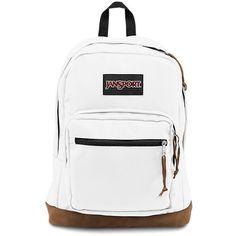 JanSport Right Pack Backpack White ($58) ❤ liked on Polyvore featuring bags, backpacks, jansport backpack, jansport, jansport daypack, rucksack bag and pocket backpack