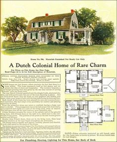 Dutch Colonial Revival House Plans New 1918 Dutch Colonial Revival Style Gambrel Roof Model No Sims 4 House Plans, Sims House, House Floor Plans, Dutch Colonial Homes, Vintage House Plans, Vintage Homes, Gambrel Roof, Suburban House, Kit Homes