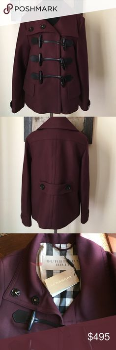"""NWT Authentic Burberry Brit Sz 4 burgundy jacket Amazing Burberry deep claret toggle jacket with plaid lining. Two snaps for wide collar. US size 4.  43% wool, 43% cotton, and 18% polyester.  25'"""" from top of back collar to bottom hem. Sleeves 22.5"""" from top of shoulder seam. Priced to sell - don't let this get away. Burberry Jackets & Coats"""