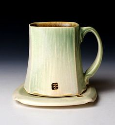 Square White and Green Mug and Saucer Set by nickdevriespottery,: