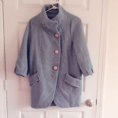 wool coat grey light blue very warm and comfy. Jackets & Coats
