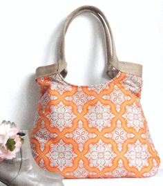 Tile Flourish in tangerine and burlap tote bag by madebynanna, $65.00