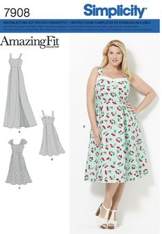 SMPL 7908 FF (18W-20W-22W-24W) Sewing Patterns, Summer Dresses, Fitness, Fashion, Classic Fashion, Beautiful Curves, Upcycling Clothing, The Fifties, Spring Summer