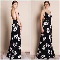 """Moonset"" Floral Print Backless Maxi Dress Backless black maxi dress with white florals. Straps are adjustable. Runs small at the waist. Brand new. This is an ACTUAL PIC of the item - all photography done personally by me. NO TRADES. PRICE FIRM. Bare Anthology Dresses Maxi"