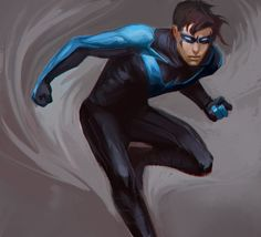 """xianfei: """" Felt like painting another Nightwing. They really should bring back his blue costume!! """""""