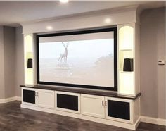 Home Theater, Media Center - Neal -Maple Home Theater, Media Center - Neal - Wohnwand mit TV VAPEX screen at a customer's home. 21 Incredible Home Theater Design Ideas and Decor (Pictures) fabulous luxury bedroom that looks beautiful Furniture, Home Theater Seating, House, Basement Entertainment Center, Home, Home Cinema Room, Home Theater Setup, Mudroom Lockers, Home Theater Speakers