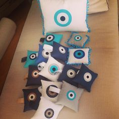 Hand made pillows How Big Is Baby, Big Baby, Christmas Home, Christmas Gifts, Baptism Decorations, Evil Eye Charm, How To Make Pillows, Lucky Charm, Christening