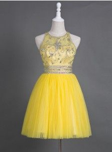 Saucy Jewel Sleeveless Short Yellow Homecoming Dress with Beading Rhinestones Illusion Back