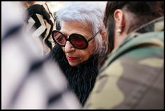"#dresscolorfully iris apfel on the set of ""the waiting game"" starring anna kendrick"