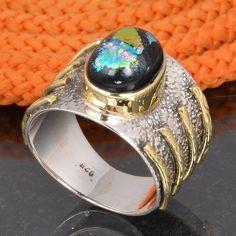 DICHORIC GLASS 925 SOLID STERLING SILVER DESIGNER RING 5.69g DJR6117 #Handmade #Ring