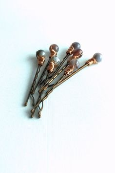 Copper Wire Stone Wrapped Boho Hair Pins