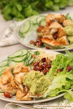 Nóri mindenmentes konyhája: Kedvenc csirkés-magos salátám Guacamole, Cooking Recipes, Ethnic Recipes, Food, Chef Recipes, Essen, Meals, Yemek, Eten