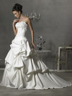 Wedding Dresses Pictures - A-Line Ball Gown Princess Scoop Strapless Dropped Satin Wedding Dress - Style WD5766