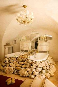 Check Out 27 Incredible Raw Stone Bathroom Design Ideas. Raw stones can change an overall appearance of the bathroom in a moment. Romantic Bathrooms, Dream Bathrooms, Beautiful Bathrooms, Fancy Bathrooms, Rustic Bathrooms, Natural Stone Bathroom, Natural Stones, Stone Bathtub, Interior Exterior