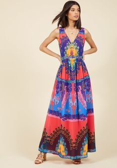 <p>You've already imagined a handful of ensembles with which to adorn this colorful maxi dress - keep at it and we know you'll come up with lots more! This ModCloth namesake label number offers a V-neckline, gathered waist, and chiffon length full of indigo, coral, green, and blue swirls. Oh what fun it is to style! </p>