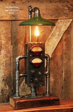Steampunk, Industrial Electrical Meter & Gear Lamp #732 - SOLD