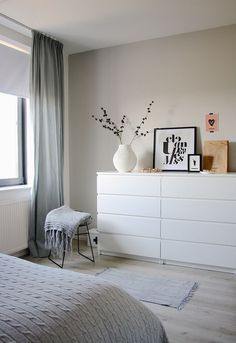 Another grey and white bedroom with a hint of pink. Bedroom by Holly Marder —- white dresser Another grey and white bedroom with a hint of pink. Bedroom by Holly Marder —- white dresser Room, Interior, Home Bedroom, Bedroom Interior, Home Decor, Room Inspiration, Room Decor, Furnishings, Ikea Bedroom