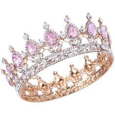 Stuff Crystal Crown Tiaras Prom Party Wedding Bridesmaid Hair Piece... ❤ liked on Polyvore featuring accessories, hair accessories, bobby hair pins, crown tiara, party tiaras, prom hair pins and prom crowns