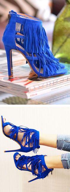Cobalt Fringe Sandals ❤︎ #shoecrush #love
