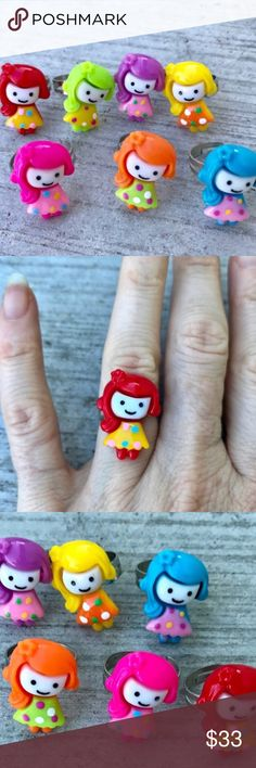 Vintage metal RING set GIRLS cute kawaii Silver Extreme cuteness..! Vintage Set of 7 plastic adjustable rings of precious little girls! Each in a different color. Red, green, purple, yellow, blue, orange blue pink ! Kitschy kawaii Cute...! Give as rings to your best friend, party favors, or save all for yourself! Starts at Size 5, but adjusts bigger. Silver tone. In excellent condition . (0105) Vintage Jewelry Rings