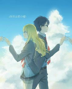 Kaori, Kousei, text, reaching out, hands; Your Lie in April