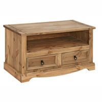 Mexican Flat Screen TV Stand (Corona Range)    Pine with a lightly distressed wax finish  Self assembly  95(w) x 43(d) x 51(h)cm  Distinctive distressed look ideal for giving your home a country style finish in a Mexican style.
