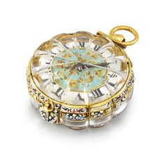 An extremely fine, rare and early 22K gold, enamel and rock crystal single hand Pendant Watch, signed Pierre Duhamel, ca. 1660, Christie's.   https://www.facebook.com/MusetouchVisualArtsMagazine/photos/a.397935563558031.98449.147391365279120/1195983413753238/?type=3
