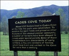 Sign describing Cades Cove Today
