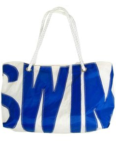 Swim design blue and white recycled sail bag