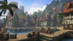 pirate town Fantasy landscape Fantasy city Fantasy town