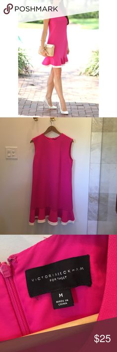 Victoria Beckham for target drop waist dress This adorable dress was only worn once and just returned from the cleaners. Bright pink dress with white trim ruffle would be adorable with a cardigan for cooler months. First image is via diary of a debutante. Victoria Beckham for Target Dresses