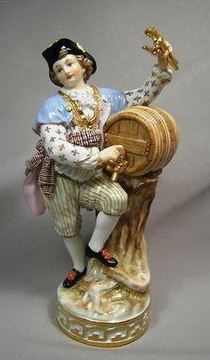 Antique 19th Century Large Meissen Porcelain Figural Wine Maker