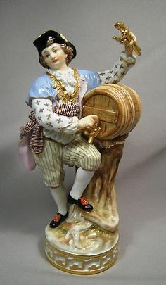 Antique 19th Century Large Meissen Porcelain Figural Wine Maker