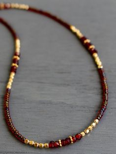 Garnet necklace January birthstone necklace garnet and gold