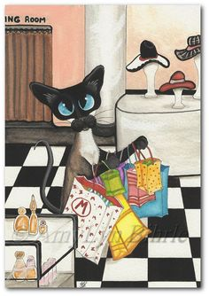 Siamese Cat Shopping Spree - Art Prints & ACEOs by Bihrle ck302