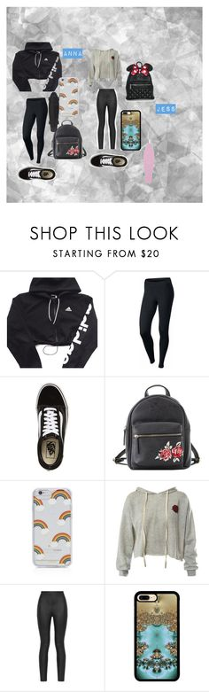 """My Little Sister and I"" by btsannxa ❤ liked on Polyvore featuring adidas, NIKE, Vans, Charlotte Russe, Sonix, Sans Souci, Armani Jeans and Loungefly"