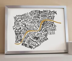 This lovely hand drawn typographic London print shows the well known areas of the fantastic city London. This wonderful London map inspired print is a perfect housewarming gift for those that either live in the city, have lived in the city or simply just love the city! If you love London then you will love this typographic map of London poster.    We have a choice of lovely colours for you to choose from. You can also choose the colour style to be a coloured illustration/lettering on a…