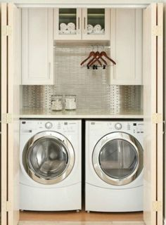 Great idea for a small laundry room by queen